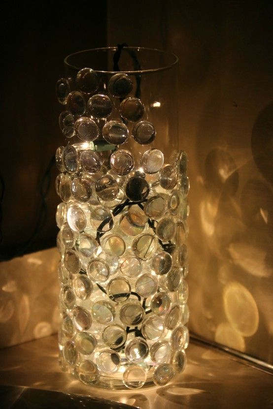 Diy Nightlight Just Hot Glue Glass Pebbles To A Vase And Put A
