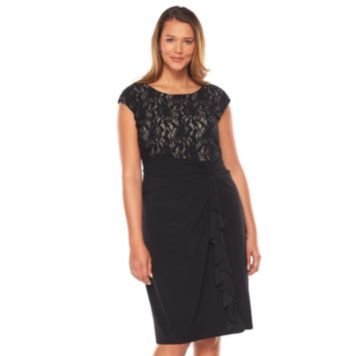 Chaps Shirred Mixed-Media Dress - Women\'s Plus Size/   Emily ...