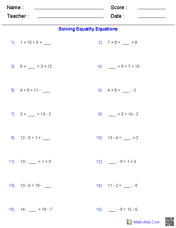 Equality Equations Worksheets | Math worksheets, Printable ...