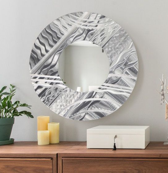 Modern Circle Mirror Etched Silver Metal Wall Art Functional Art