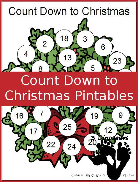 FREE Single Page Count Down To Christmas Printables Tree Santa Wreath