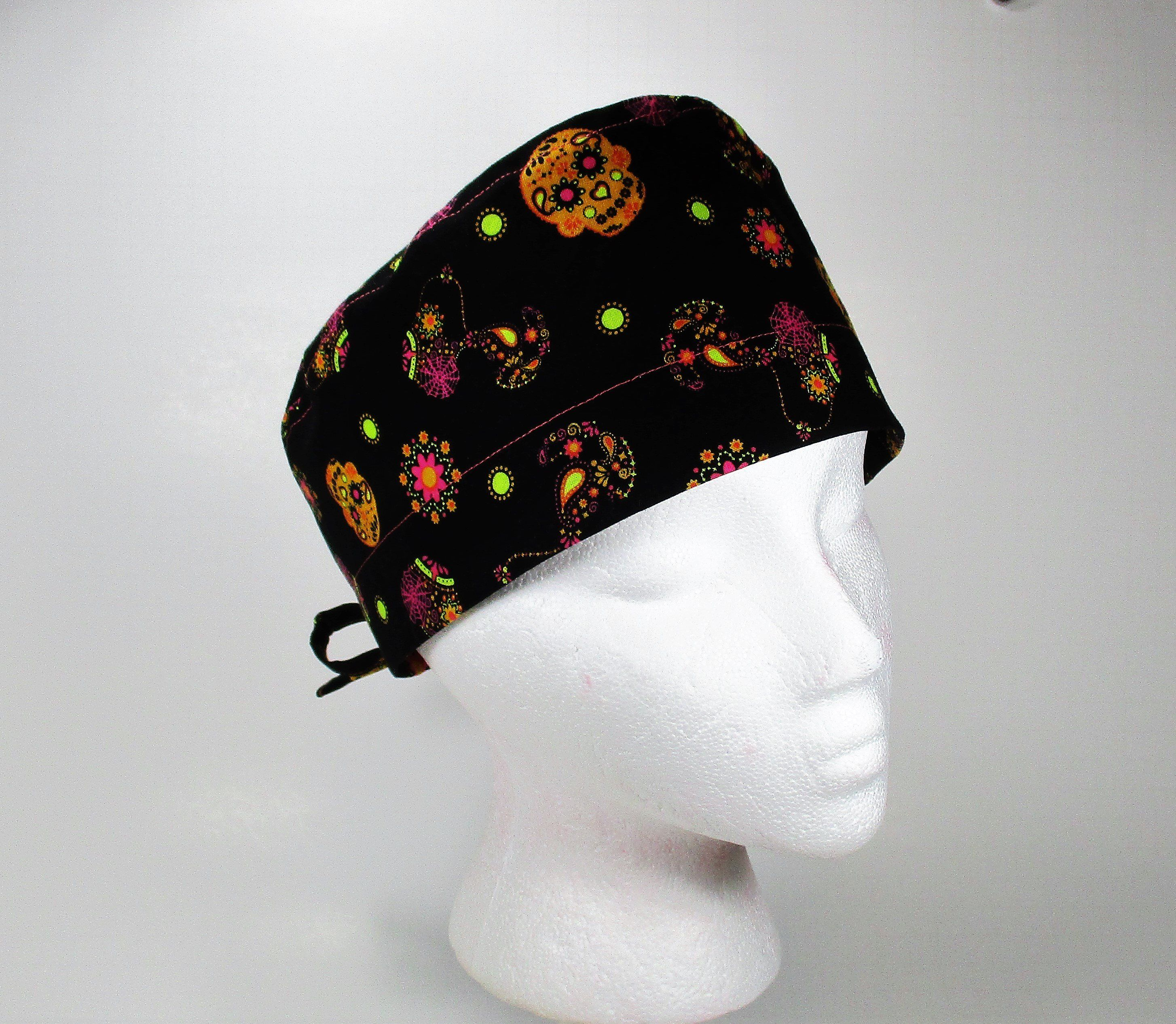 c0e20b95c Snoopy and Sugar Skulls on Black Novelty Unisex/Men's Tie Back Surgical  Scrub Cap/Pixie Cap/Chemo Hat by FoodFunScrubHats on Etsy