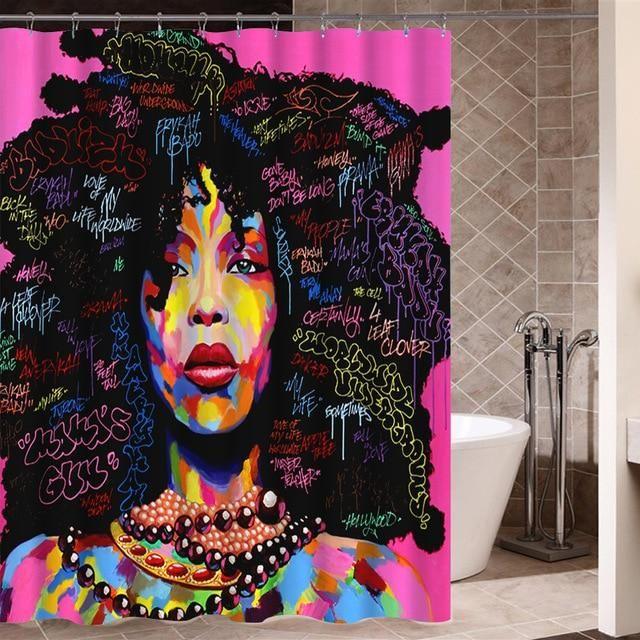 Art Design Graffiti Hip Hop African Black Women With Natural Hair Shower Curtain Bathroom Decor
