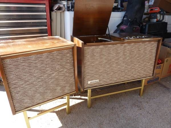 Mid Century Modern Steelman Record Player Speaker