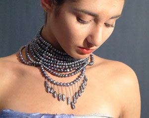 Morgana, collana con pendenti, perla acqua dolce, argento rodiato
