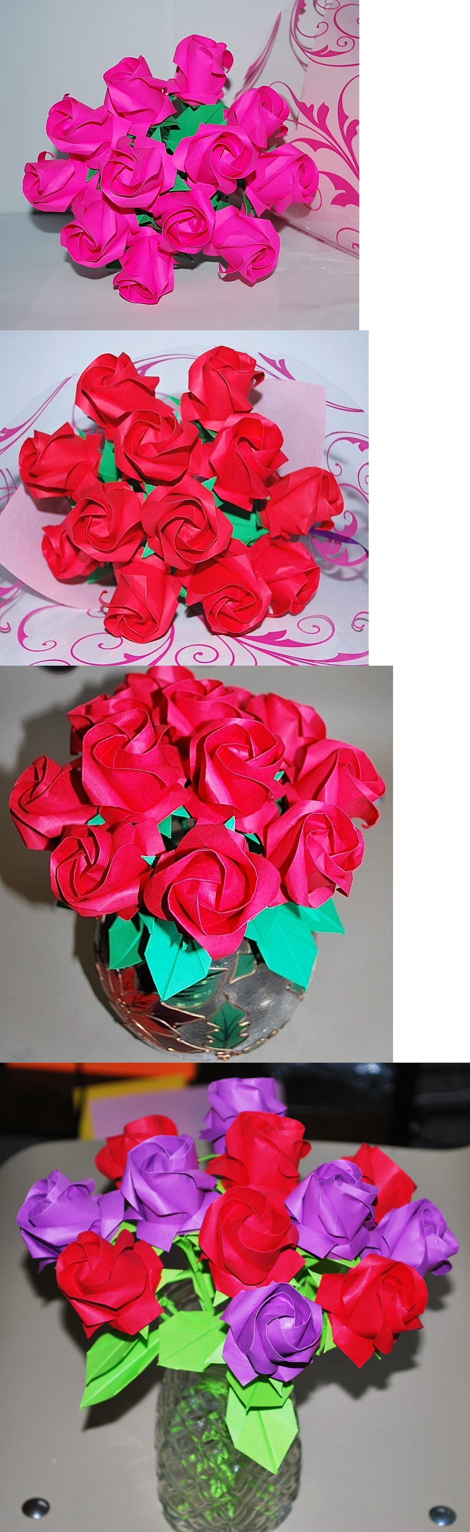 Valentine Gifts Dozen Red Roses Origami Flower Bouquet Valentine