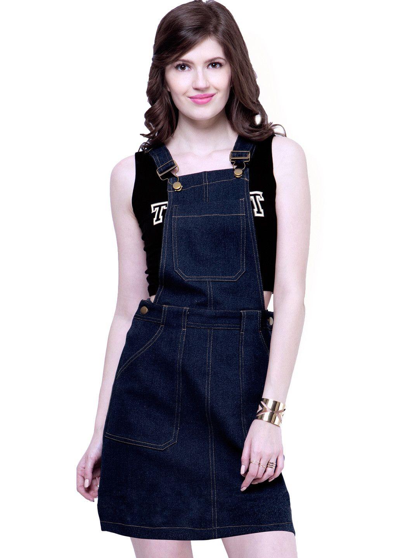 d29b9868133dd1 FabAlley Blue Denim Pinafore Dress For Women #DenimDress | Western ...