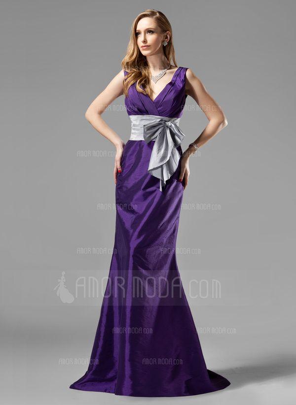 Trompete/Sereia Decote V Trem da varredura Tafetá Vestido de madrinha com Pregueado Cintos Curvado (007004108)