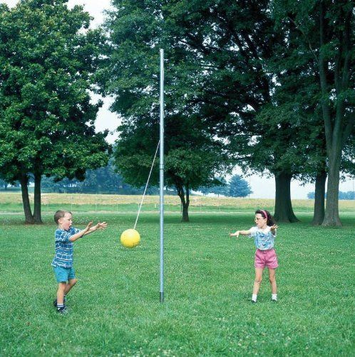 Sportime In Ground Galvanized Steel Tetherball Pole For Perm Or Temp Installation 2 Section Pole By Sportim