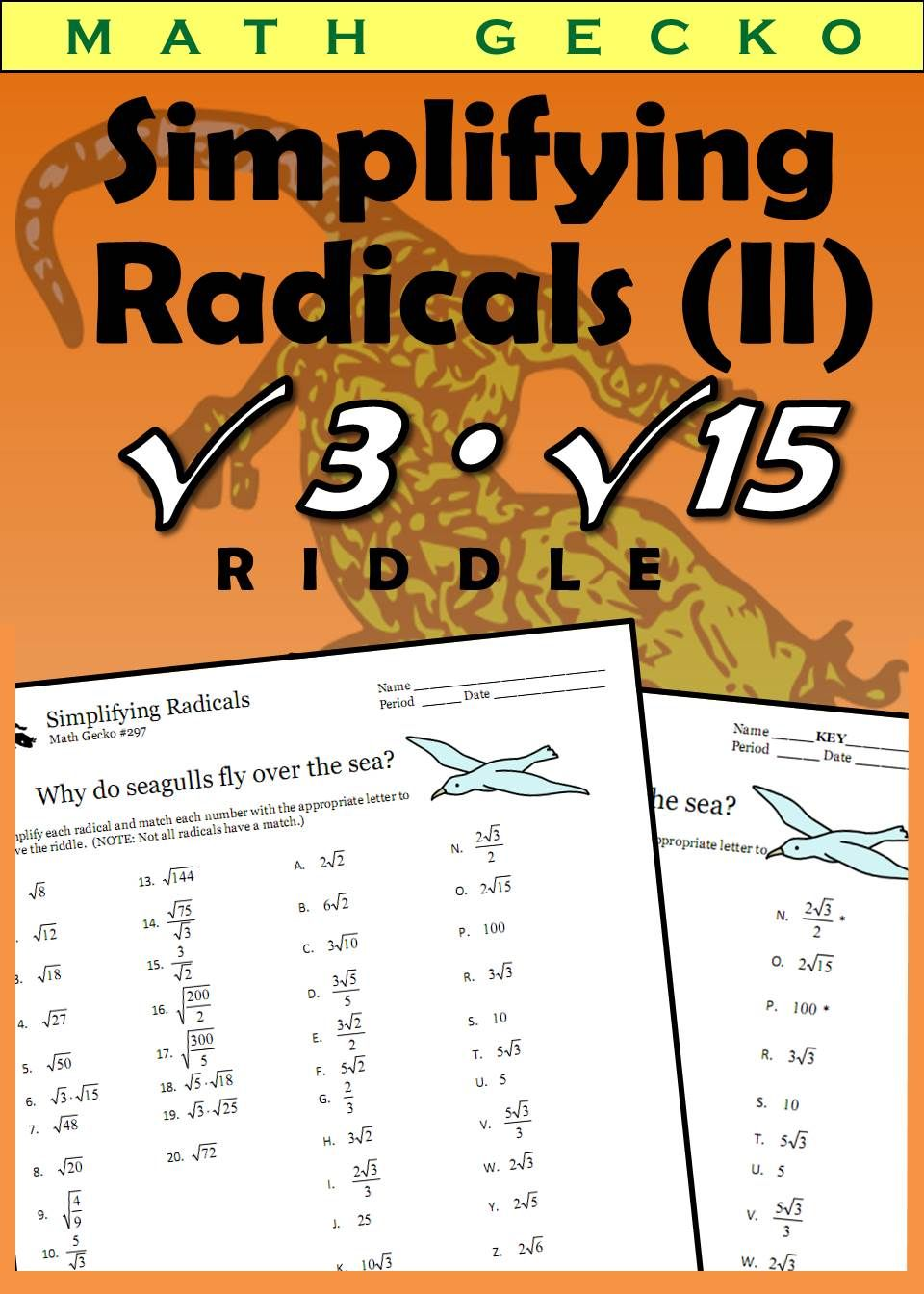 Simplifying Radicals Ii Riddle Simplifying Radicals Subtraction Facts Worksheet Math Fractions Worksheets Simplifying radical expressions adding