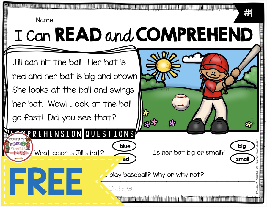 FREE Reading Passage With Prehension Questions First