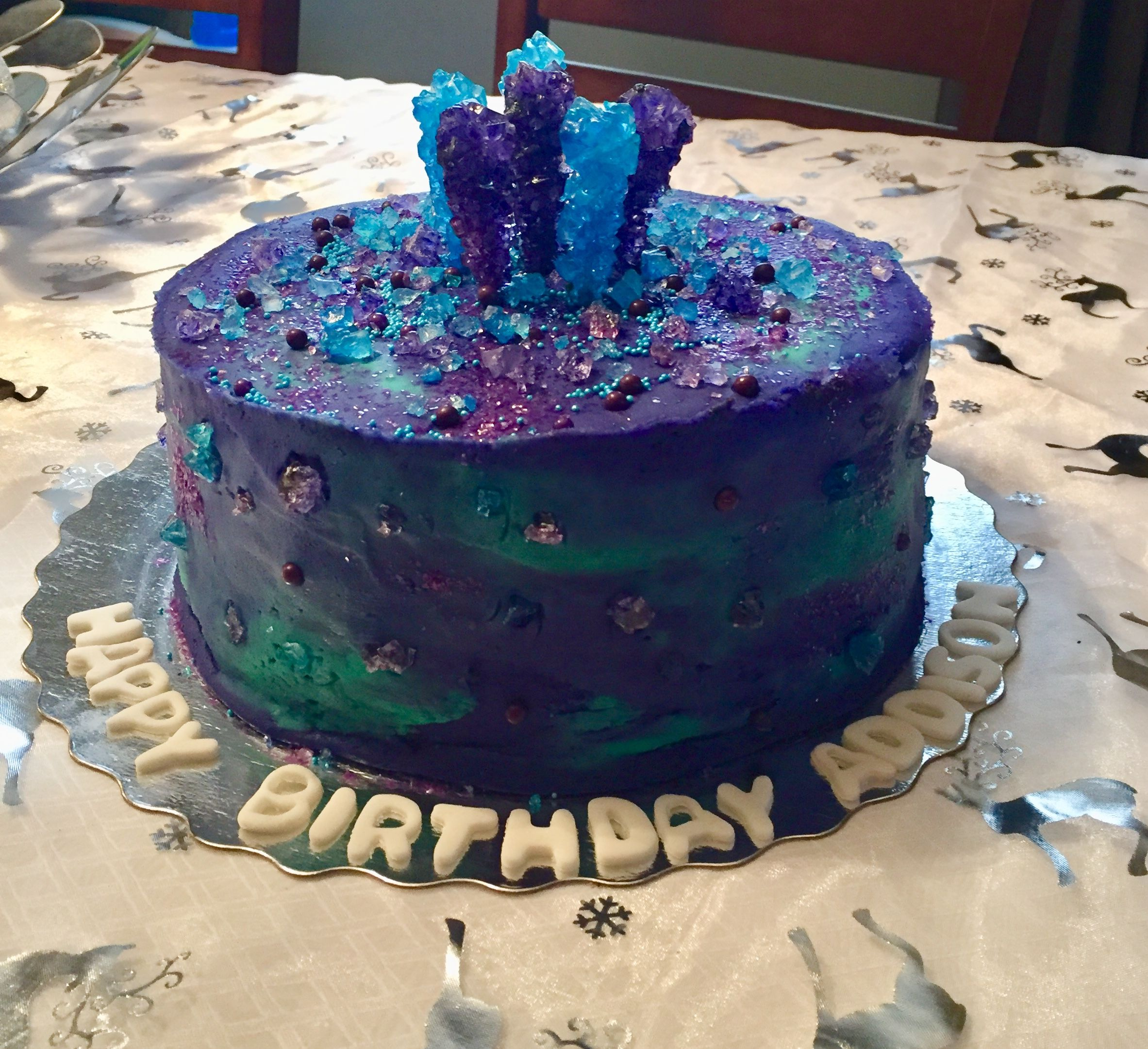Purple And Blue Marbled Sparkle Explosion Birthday Cake Cakes
