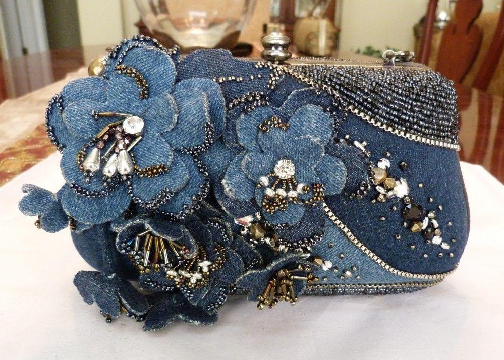 Mary Frances Retired Las Who Lunch Spring 2017 Denim Bead Handbag New W Tags