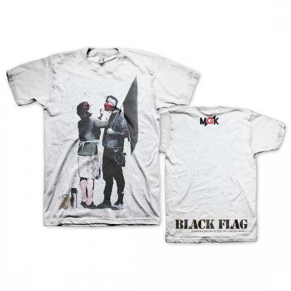 Mgk Black Flag T Shirt In White Flag Tee Mgk Shirts Black Flag