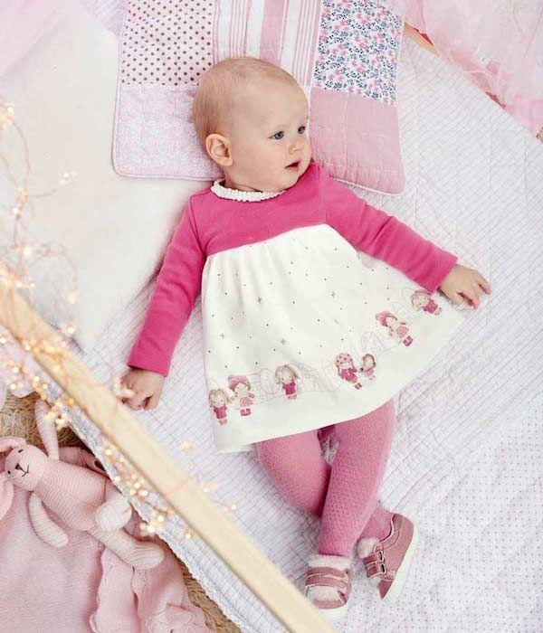 fdc29b0f51033 Vestido rosa niñas Mayoral Otoño Invierno 2019 Catálogo ropa bebé   modainfantil  ropaniñas  tendenciasdemoda  catalogosropa