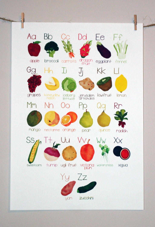 Alphabet Poster A Z Fruit And Vegetable Illustration Print Via