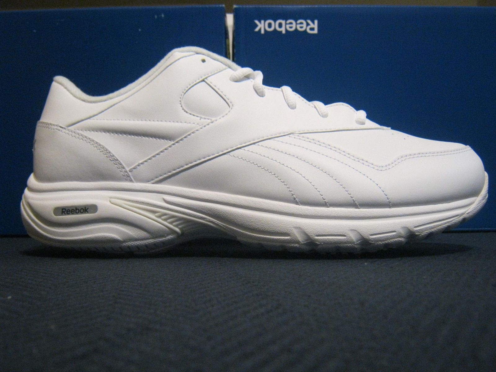 e19603a275d214 Mens REEBOK Comfort Deluxe II DMX Max White Leather Walking Size 14 Medium