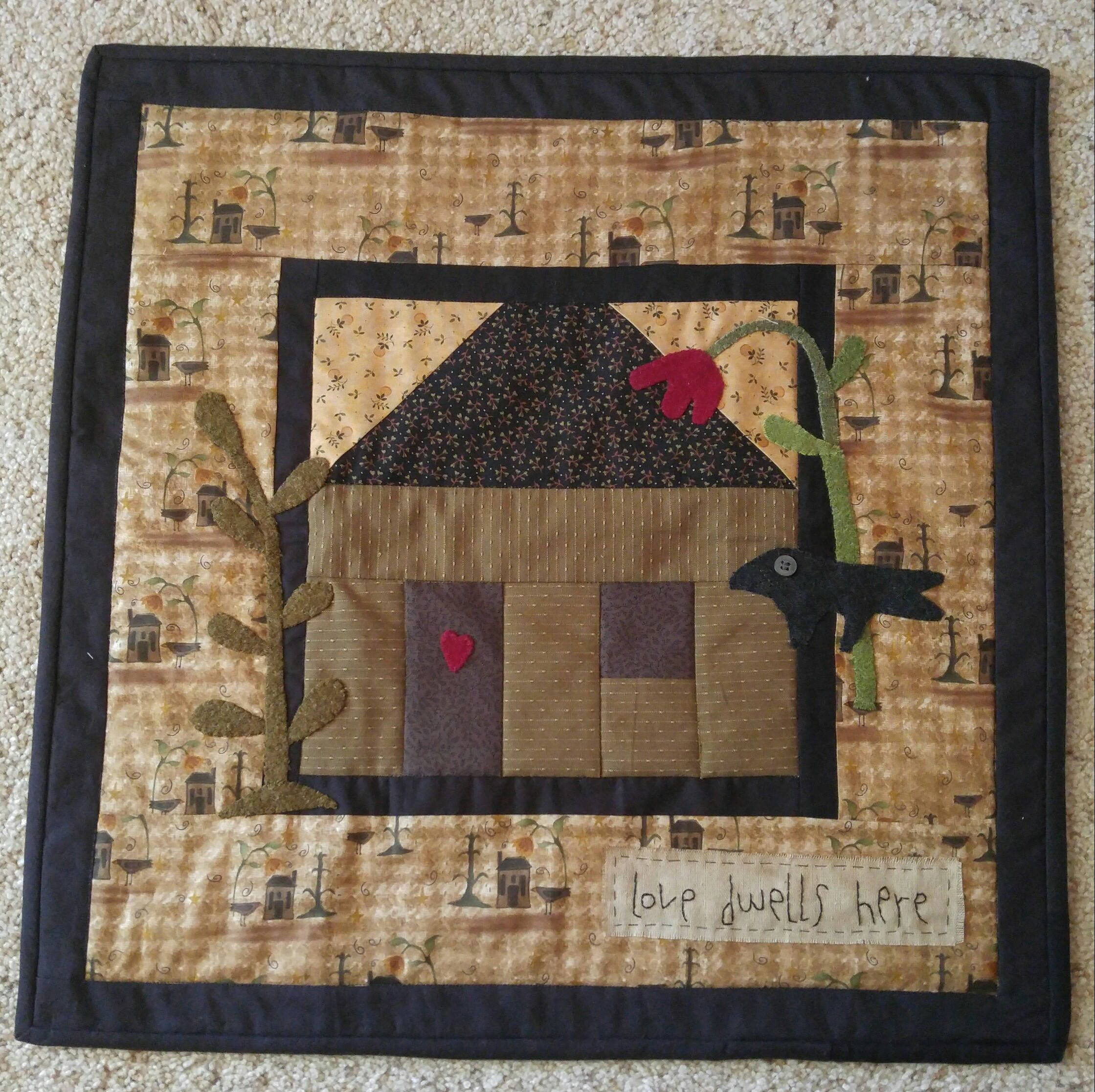 Handmade Country Primitive House Block Quilt with Wool Applique ... : quilting with wool - Adamdwight.com