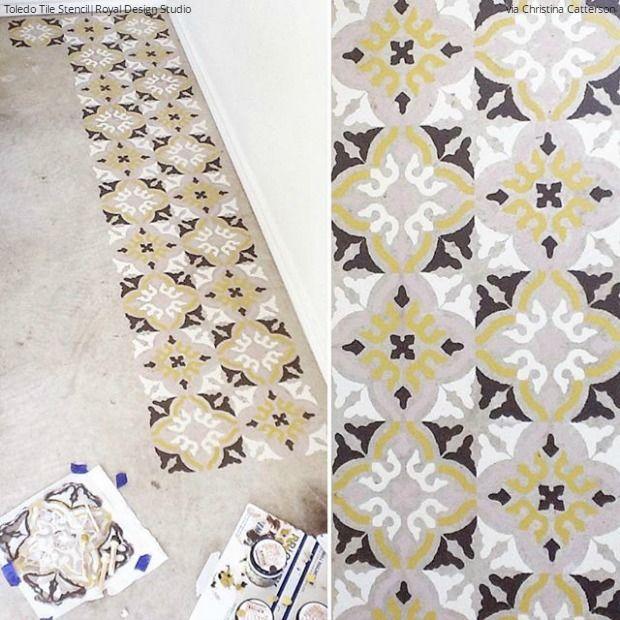 Easy Diy Fix Concrete Floor Stencils Stenciled Floor Concrete Floors Diy Painted Floors