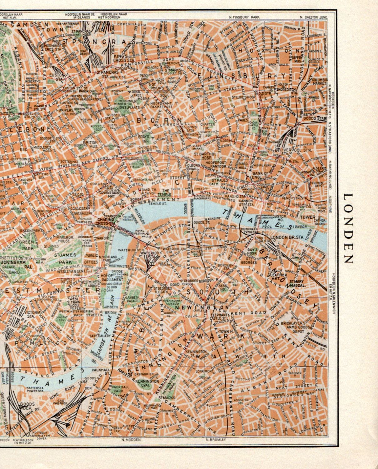 LARGE vintage LONDON map 1950s London street map london travel