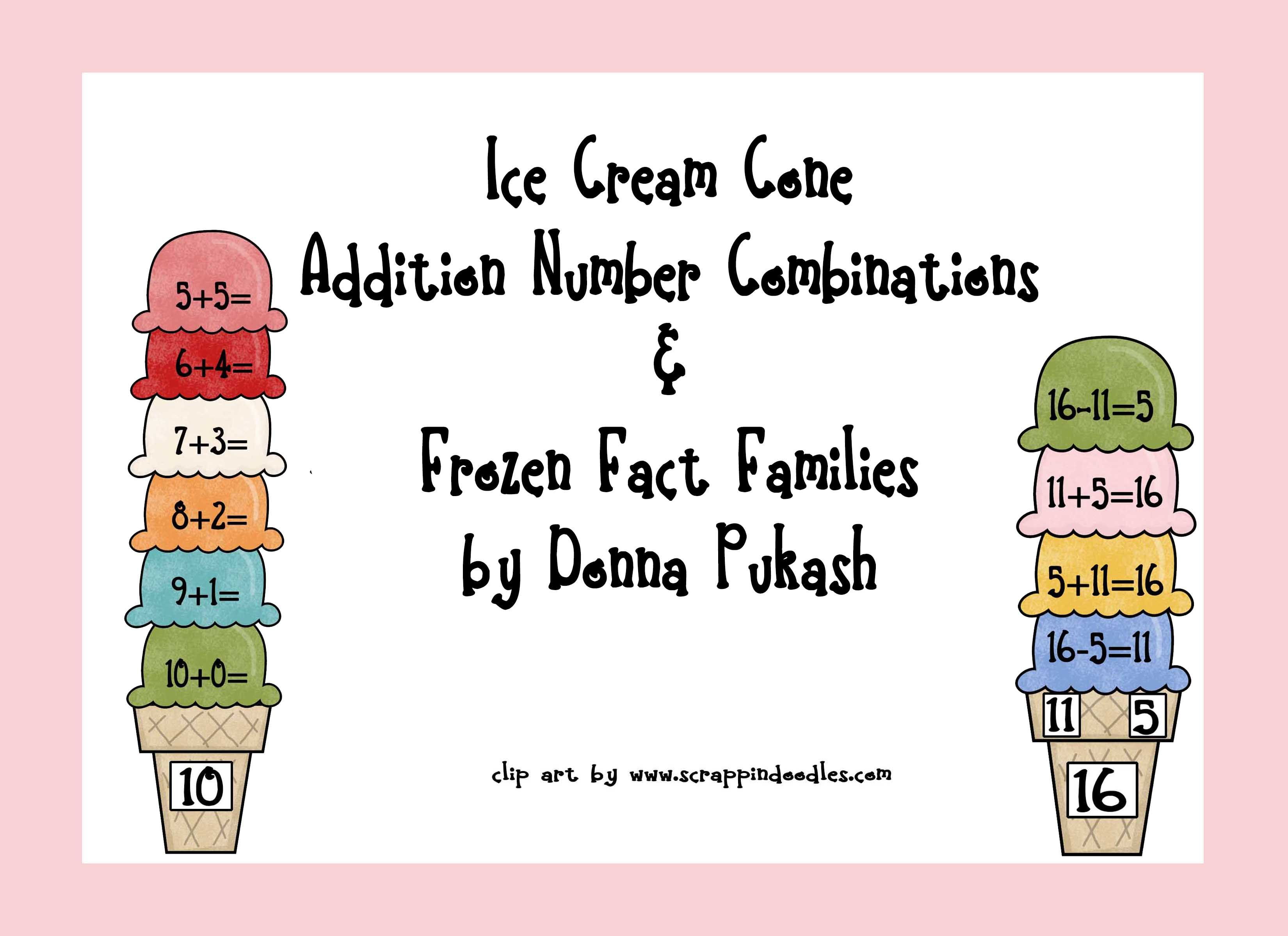 Ice Cream Fact Families Amp Addition Number Combinations