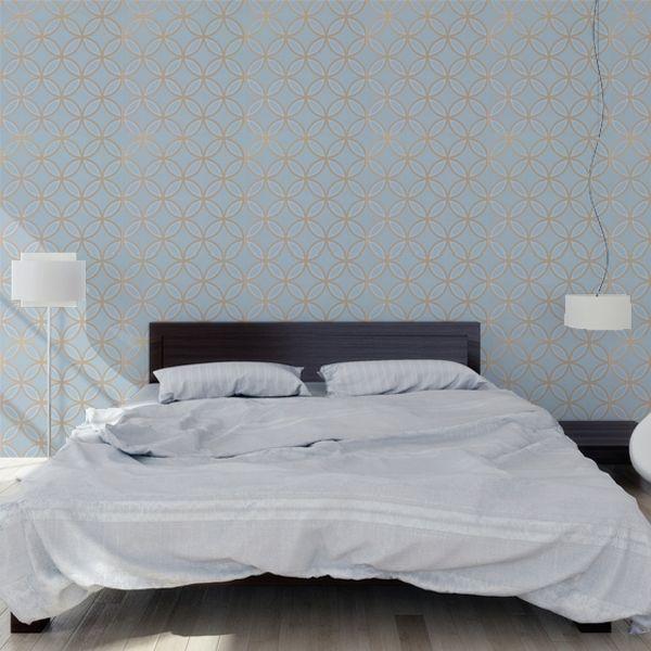 Papier peint géométrique bleu Kirkos – Thibaut