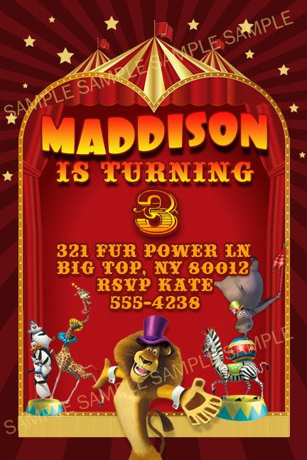 Madagascar 3 Invitations Circus Themed Personalized Birthday Party Invites Self Print 4x6