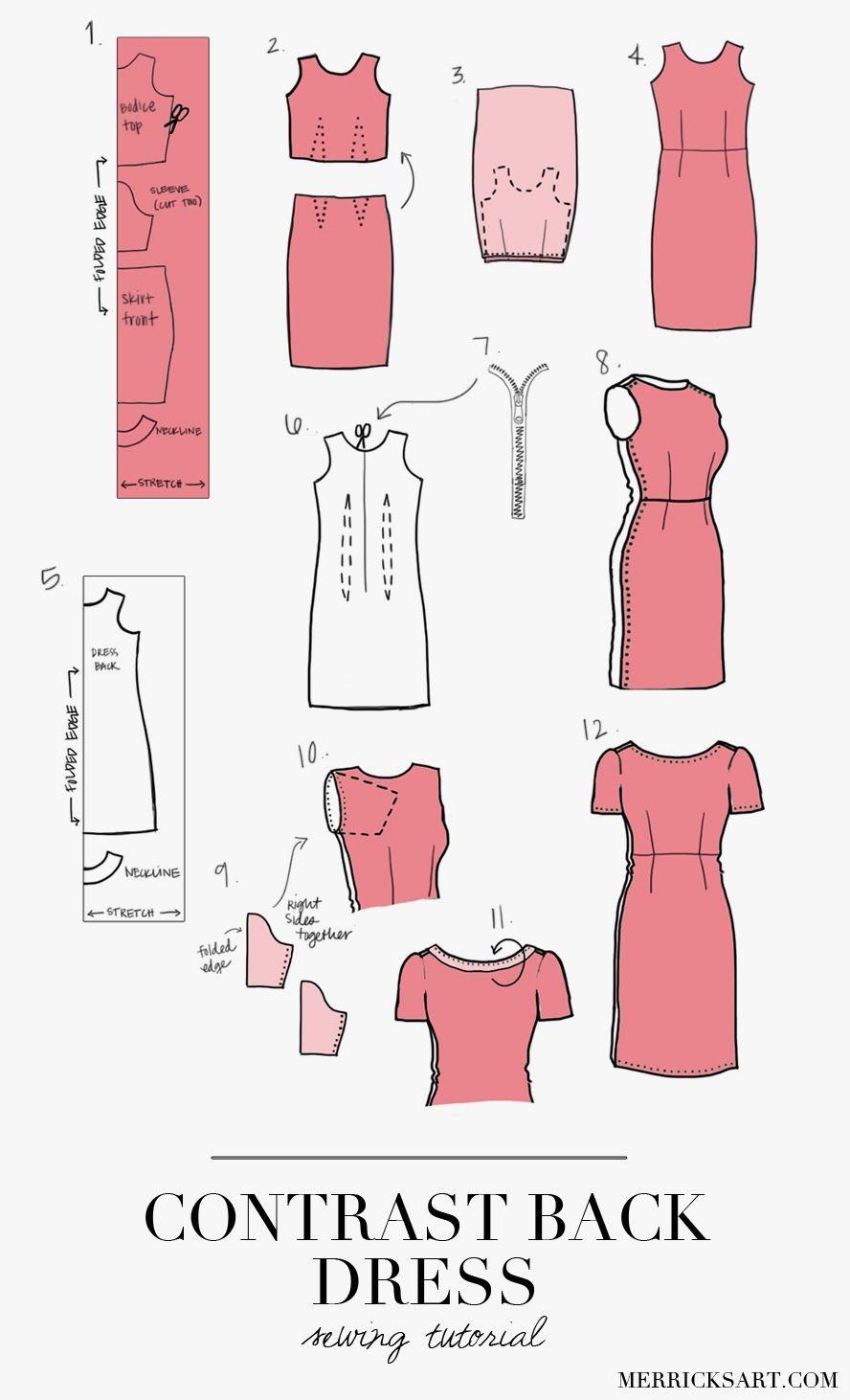 CONTRAST BACK DRESS TUTORIAL   Costura, Patrones y Ropa informal
