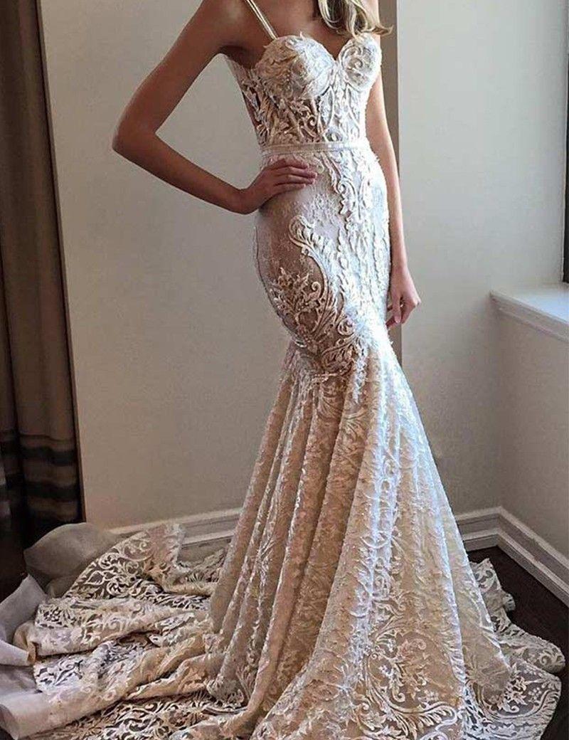 Lace spaghetti strap wedding dress  Stylish Mermaid Lace Spaghetti Straps Wedding Dress with Sweep Train
