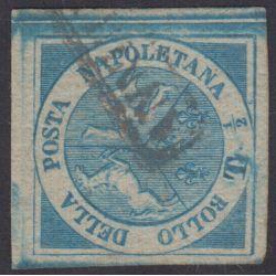 ANTICHI STATI NAPOLI GOVERNO PROVVISORIO 1860 1/2 TORNESE TRINACRIA US 2 CERTIF.