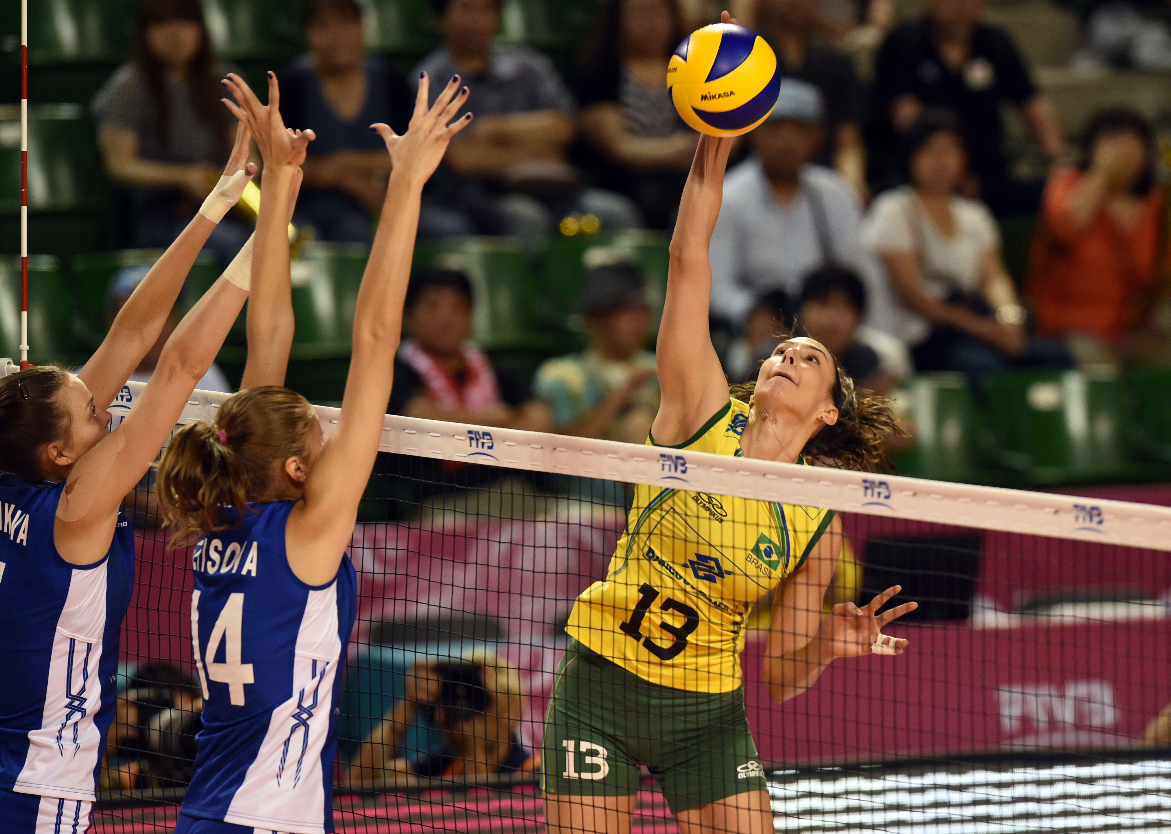 Sheilla Castro De Paula Blassioli Of Brazil Spikes The Ball Castro Brazil Volleyball