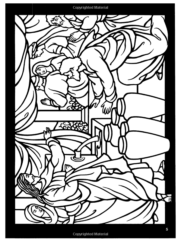 The Life Of Jesus Stained Glass Coloring Book Dover