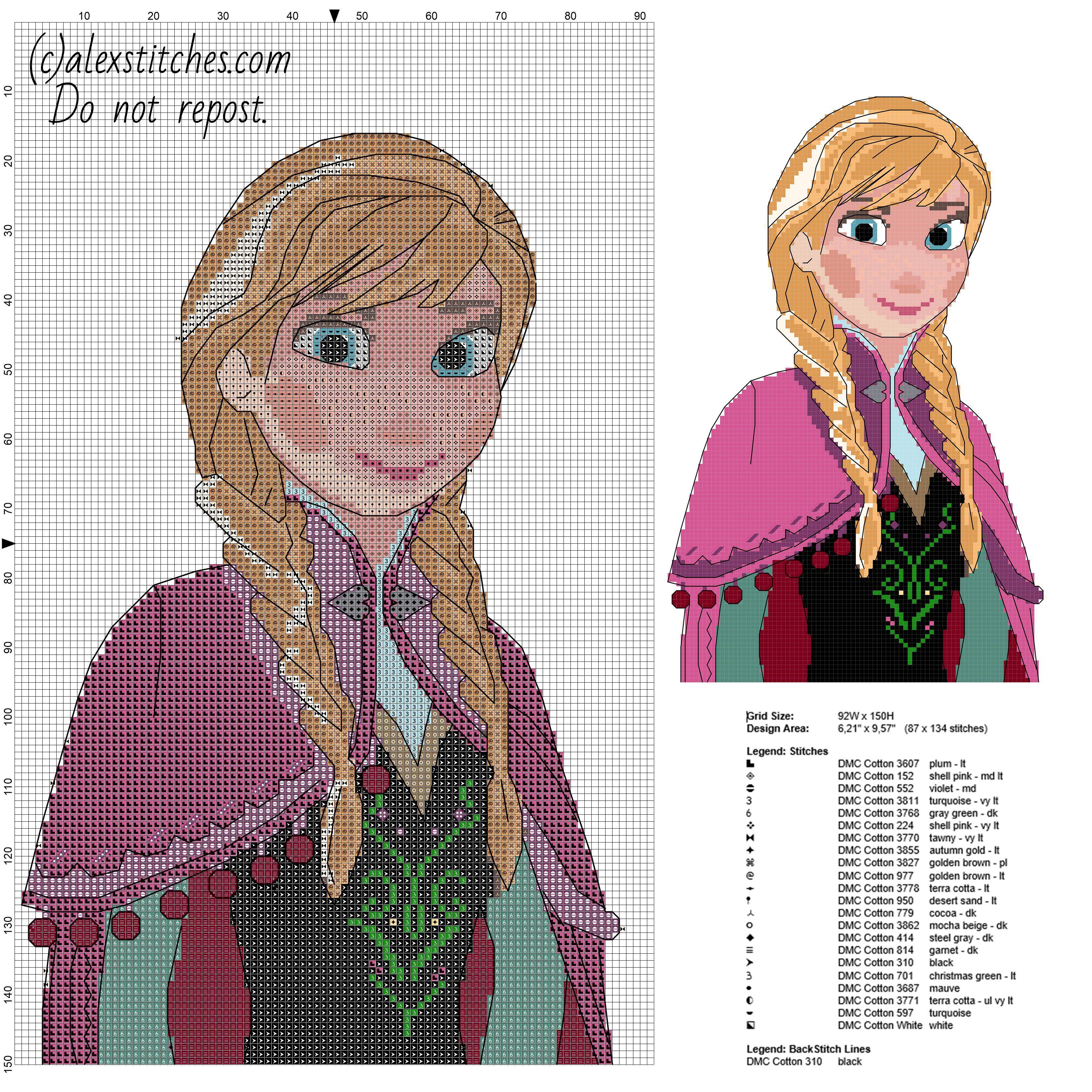 Personnage de dessin animé de Disney Anna Frozen taille du motif de ...