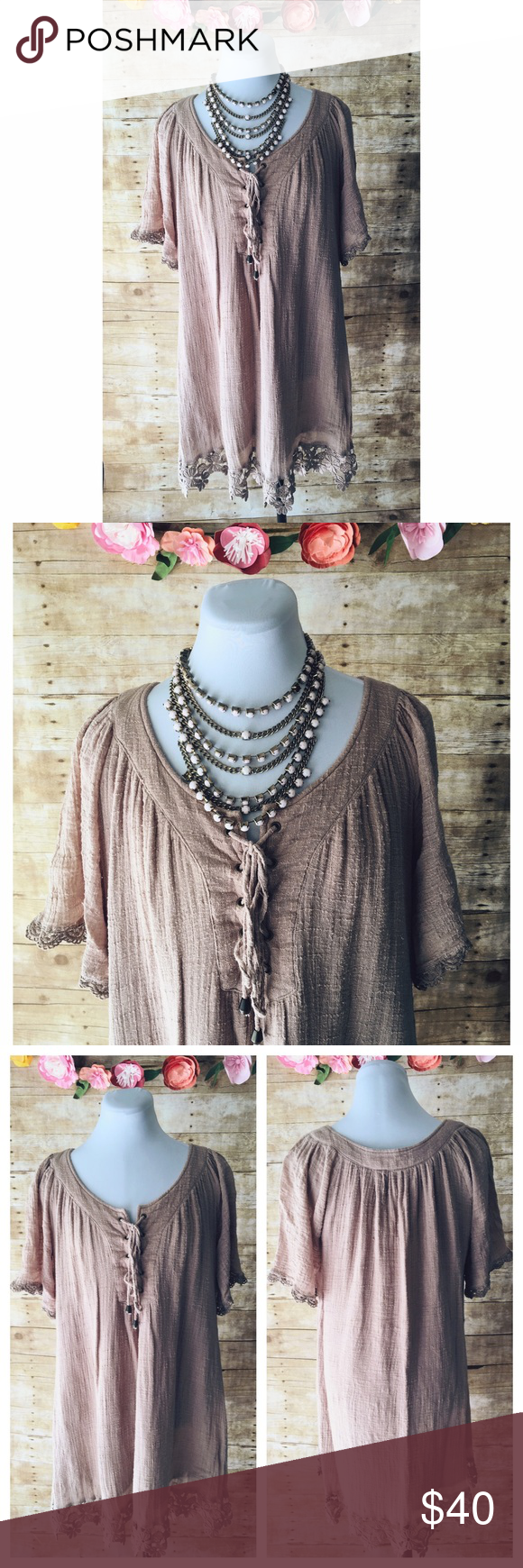 """Boho Lovestitch Taupe Dress Comfy, flowy, boho style dress in taupe/tan with lace trim by Lovestitch. Features tie neckline & lined. This has been washed/worn a bit but still in good condition. Material is soft. See close up photos to see material. It looks snagged but it is not that is how the material is made throughout dress. This dress is meant to fit flowy. Flat measurements: bust: 22""""; length 32"""" not including lace trim. Lovestitch Dresses"""