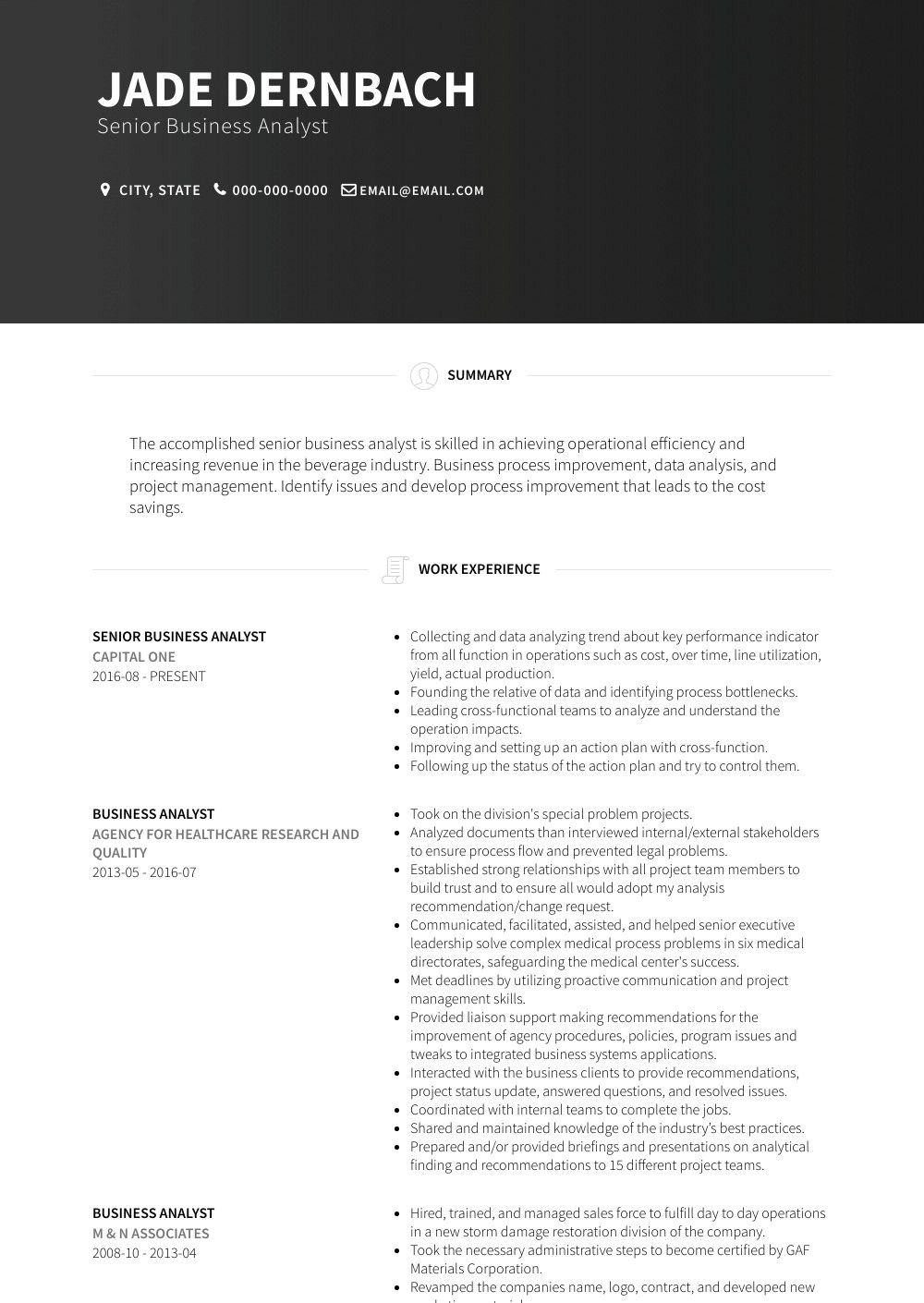 Business analyst resume examples cool and elegant senior