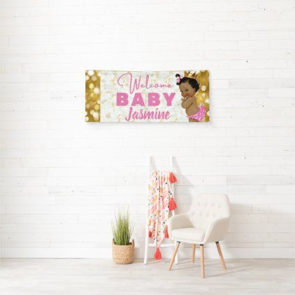 Royal African Princess Pink Gold Marble & Glitter Banner - marble gifts style stylish nature unique personalize