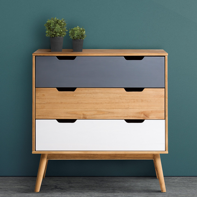 Commode scandinave 3 tiroirs ANAEL Bois massif | Commodes, Chambres ...