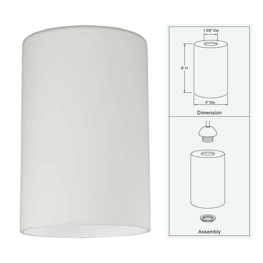 Satin White Cylinder Gl Shade Lipless With 1 5 8 Inch Er Gl1028c Destination Lighting