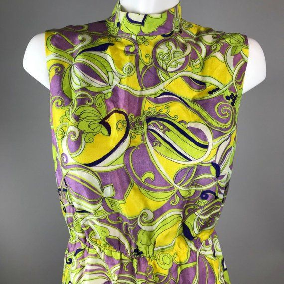 1960s Psychedelic DRESS Watercolor Floral Midi Tank By