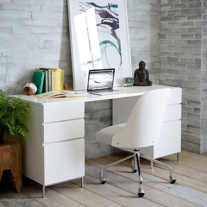 Amy Kim S Black White Workspace Front Main Modern Home Office Desk Contemporary Office Desk Home Office Furniture Desk