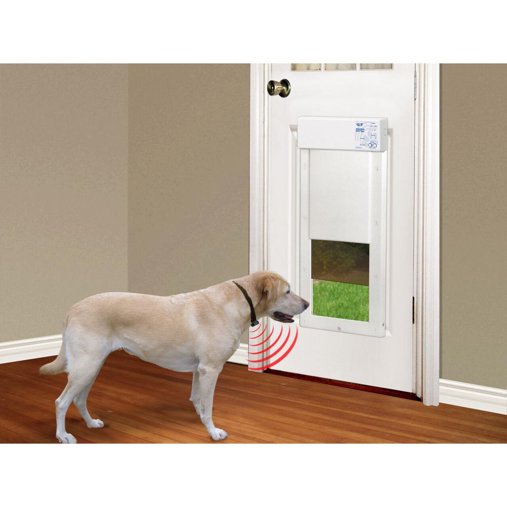 High Tech Pet 12 In X 16 In Power Pet Large Electronic Fully Automatic Dog And Cat Electric Pet Door For Pets Up To 100 Lb Px 2 The Home Depot Dog