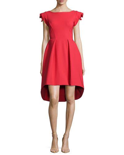 d42f1186eee17e TAPQS La Petite Robe di Chiara Boni Rosette Cap-Sleeve High-Low Dress