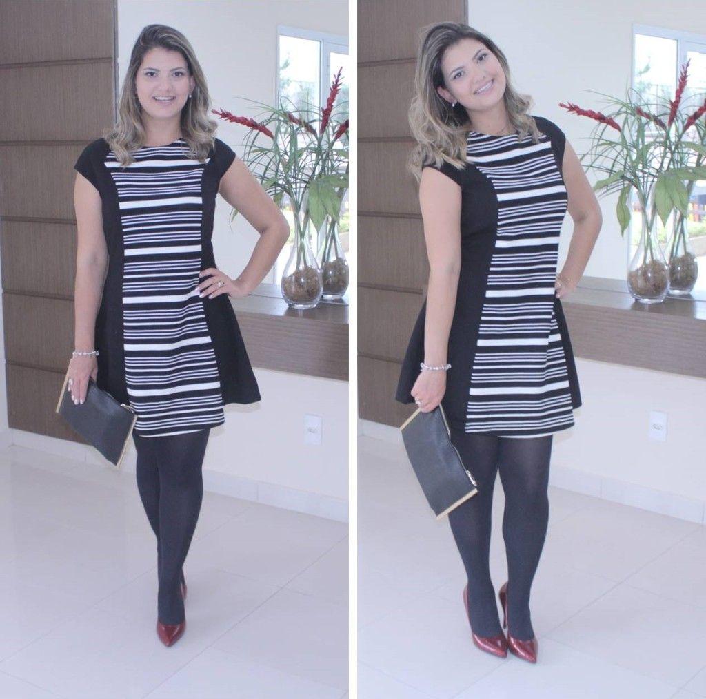 b66db139e Look usando vestido preto e branco com sapato vermelho. Look clássico para  eventos. Look do dia clássico.