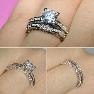 Aaa Cubic Zirconia Women S Wedding Ring Set Copper White Gold Plated
