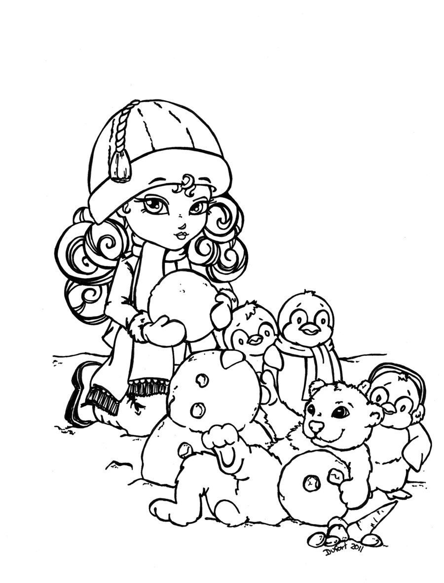 Snowy Day Lineart By Jadedragonne On Deviantart Precious