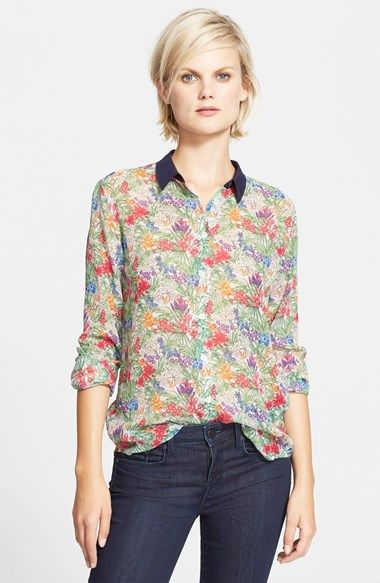 Equipment+'Audrey'+Floral+Print+Silk+Blouse+available+at+#Nordstrom