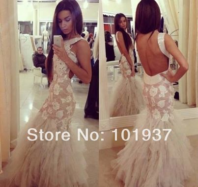 Vestido De Fiesta 2014 New Sexy Sleeveless Lace Appliques Sequin Tulle Mermaid Prom Dresses Long Open Back Evening Gowns