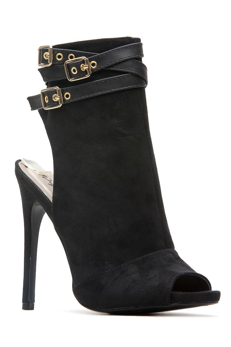 d6d13f46860b3 Black Faux Suede Peep Toe Ankle Booties @ Cicihot Heel Shoes online store  sales:Stiletto Heel Shoes,High Heel Pumps,Womens High Heel Shoes,Prom Shoes,Summer  ...