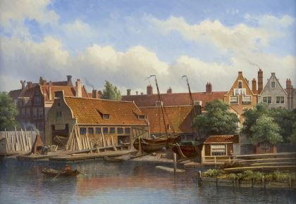 Eduard Alexander Hilverdink (Amsterdam 1846-1891) A view on the shipyard 'Het Jagt' in Amsterdam - Dutch Art Gallery Simonis and Buunk Ede, Netherlands.