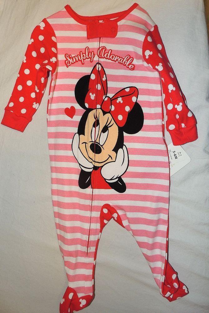 b6cba4e911dc New Disney Baby Girls Minnie Mouse Pajamas Size 3-6 M Pjs Zip Front ...